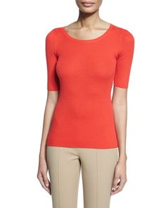 B32ZA Michael Kors Half-Sleeve Round-Neck Cashmere Top, Coral