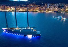 We couldn't help ourselves but round up the photos of the largest sail assisted motor yacht in the world lightning up Monaco, where she has been recently spotted alongside M/Y A after their first meetup at the Nobiskrug yard in Kiel, Germany, where S/Y A was under construction.Built for Russian...