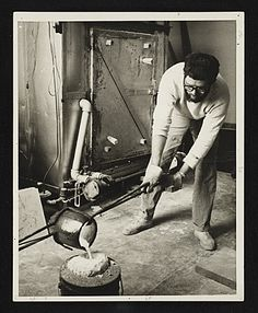 Citation: Paul Suttman pouring bronze at the University of Michigan, 196-? / unidentified photographer. Paul Suttman papers, Archives of American Art, Smithsonian Institution.