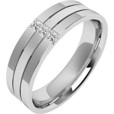 A stunning Princess Cut diamond set mens wedding ring in 18ct white gold
