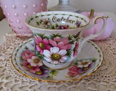 """It is one of Royal Albert's """"Flower of the Month"""" teacups produced in 1970 ~ Cosmos for the month of October."""