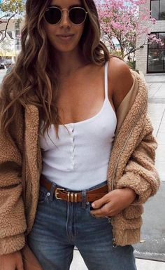 #spring #outfits white top, jeans, beige coat