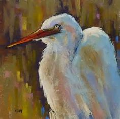 Pastel Demo...Great White Egret in the Marsh, original painting by ...