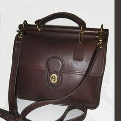 COACH Willis Claasic Leather tote Bag Messenger Bag Brown & Gold by renee1victor3 on Etsy