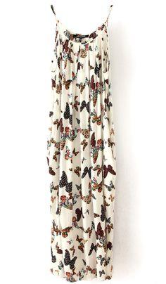 White Spaghetti Strap Butterfly Print Chiffon Dress $23.55