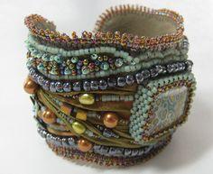 Shibori ribbon bead embroidered bracelet