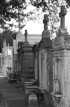 New Orleans Cemeteries.  Fascinating!!  Since the city of New Orleans is below sea level, all of the cemeteries have above ground crypts.  These look like 'family' sites.