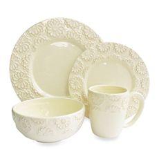 American Atelier Bianca Flower Ivory 16-Piece Dinnerware Set - Bed Bath & Beyond