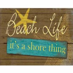 Shore Thing Beach Life Sign Wood Grain Star Fish Coastal Painting Yellow & Blue Canvas Art by Pied Piper Creative