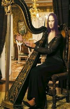 Mona playing harp