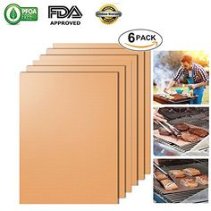 Copper BBQ Grill Mat, Non Stick Oven Liner Teflon Cooking Mats - Easy to Clean, Reusable, Durable, Heat Resistantand, Barbecue Sheets For Grilling Meat (Gold- set of 6)