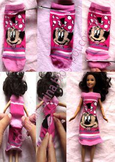 Çocuklar Aşkına: Barbie için çoraptan elbise ve bluz yapımı