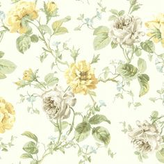 Brewster Home Fashions Willow Cottage Rose Trail Wallpaper in White