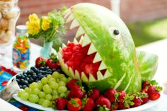 shark platter - like that this one has fruit seperate from one another   octonaut party
