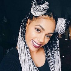 Grey Queen✨ ✨✨ #CatfaceHair Black Grey Ombre ✨✨Buy Ombre Braiding Hair>> www.catface.me/store or shop.catface@gmail.com  #protectivestyles #Boxbraids #ombrebraids #greybraids