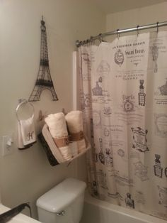 Paris Themed Bathroom  (shower Curtains), And Eiffel Tower Decor. (With A  Light Pink Paint)