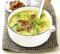 Potato & Savoy cabbage soup with bacon  Good looking soup, but is soup a meal or just a hearty drink?
