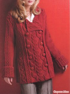 Красный кардиган спицами (Pea Coat)