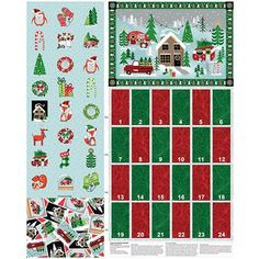 ADVENT CALENDAR FABRIC PANEL CHRISTMAS TREE fabric SEASONS GREETINGS NEW BTP