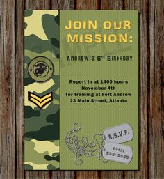 25 Unique Army Birthday Invitation Template Photos - You have had an important idea already, in having a calligrapher hand-write the invitations. Army Birthday Parties, Army's Birthday, Kids Birthday Party Invitations, Birthday Invitation Templates, Birthday Party Themes, Birthday Ideas, Invitation Ideas, Army Party Decorations, 50th Birthday Decorations