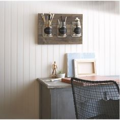 Wooden Plaque with Mason Jars