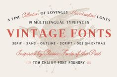 Introducing the Handcrafted Vintage Fonts Pack with 73 Illustrations and 32 Badges & Borders --- The handcrafted vintage fonts pack consists of a carefully Vintage Fonts, Vintage Theme, Vintage Inspired, Typeface Font, Typography, Examples Of Logos, Font Packs, Classic Fonts, Thats All Folks