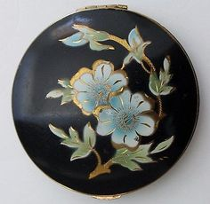 Vintage Dorset Fifth Avenue Black Enamel Blue Flowers Gold Inlay Powder Compact.