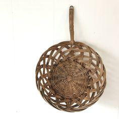 wicker basket scoop - woven brown rattan wall basket - boho wall hanging