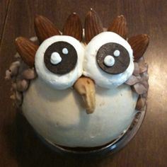 """OWL SUNDAE: This actually looks like it may be Fro Yo with a cashew for the beak, almonds above the eyes, whipped cream for the whites of the eyes, choc. chips for the pupils of the eyes and maybe toffee for the feathers?? I would put a brownie at the bottom of the cup with some hot fudge or your fave topping, under the """"owl"""". SO CUTE!!!!"""