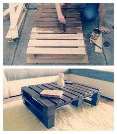 What you need: pallets saw hammer nails abrasive paper glaze screws carriage bolts caster wheels From the First Pallet Create the Top of the Table The standard pallet (80x120cm/31,5x47,25in) was too big for our living room, so we sawed the…