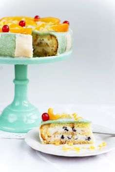 A ricotta-layered sponge cake soaked in liquor and covered in marzipan.This cake is usually elaborately decorated with candied fruits, nuts, and marzipan, making it hard to cut the first slice. (But not that hard because YUM. Italian Cake, Italian Desserts, Italian Cookies, Italian Cassata Cake Recipe, Food Cakes, Cupcake Cakes, Cupcakes, Gourmet Recipes, Plated Desserts