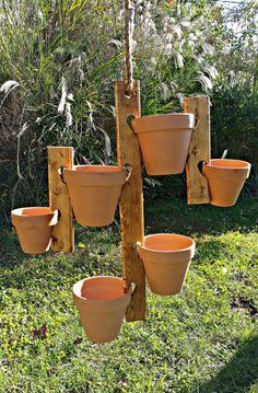 Hanging Flower Pot Holder Hanger by HighFlightDesigns on Etsy Hanging Flower Pots, Hanging Planters, Garden Planters, Planter Pots, Pot Hanger, Cactus Flower, Garden Projects, Container Gardening, Outdoor Gardens