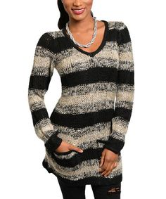 Black & Tan Stripe V-Neck Sweater I Love it!