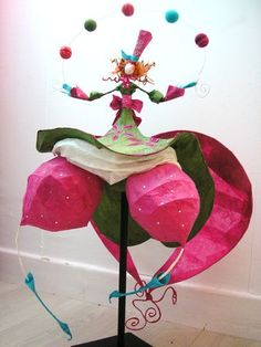 .papier maché fantastic circus juggler papier mache art doll sculpture fab colours mad hatter style