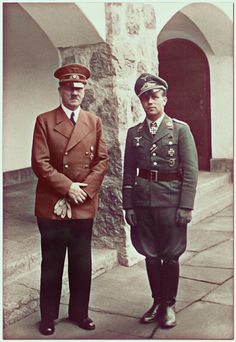 Adolf Hitler with a Luftwaffe pilot at the Berghof in Berchtesgaden, Germany
