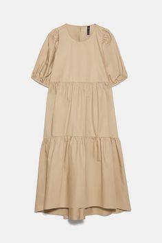 ZARA - Female - Asymmetrical poplin dress - Camel - S Peplum Midi Dress, Poplin Dress, Smock Dress, Midi Dresses, High Street Fashion, Zara Trends, Vestido Casual, Short Sleeve Dresses, Dresses With Sleeves