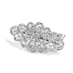 """This Crystal Bridal Hair Comb is 4"""" w x 2 1/4"""" h. Our bold headpiece is plated in Antique Silver Rhodium and is the ideal hair accessory to adorn Wedding hairstyles with 100's of sparkling crystals at a great price!"""