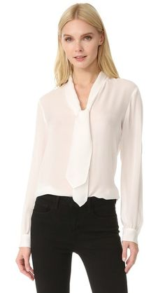 L Agence Gisele Necktie Silk Blouse In Ivory Office Fashion, Work Fashion, Women's Fashion, Long Tops, Long Sleeve Tops, Timeless Fashion, Luxury Fashion, Blouse And Skirt, Drape Blouse