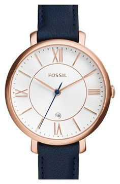 Free shipping and returns on Fossil 'Jacqueline' Round Leather Strap Watch, 36mm at Nordstrom.com. Slender Roman numerals and a slim leather strap enhance the elegant appeal of a lovely round watch designed with a classic aesthetic and modern proportions.