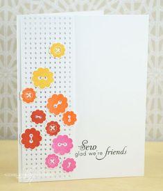 Stitched with Love Stamp and Die sets.. Stripe Stitch die -  Sew Glad We're Friends Card - Nichole Heady