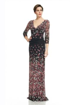 Evening Flora Deep V Gown from KAY UNGER