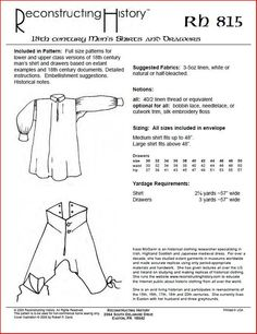- Century Men's Shirts & Drawers Sewing Pattern by Reconstructing History Victorian Mens Clothing, Medieval Clothing, Historical Clothing, Sewing Men, Sewing Clothes, Diy Clothes, Pioneer Clothing, 18th Century Clothing, Clothing Sketches
