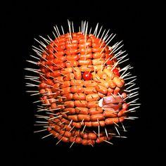 frankfurter head with toothpicks - - via russian artist dimitri tsykalo