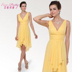 Betty V-cuello-hombro del doble del vestido de la dama de diseño corto