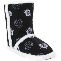 Supernatural Symbols Slipper Boots Hot Topic ($20) ❤ liked on Polyvore featuring shoes and slippers