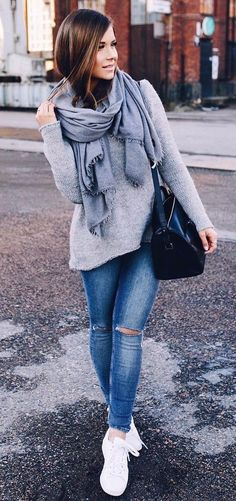 fall inspiration: knit + bag + ripped jeans + sneakers