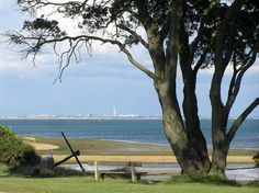 View from the cliff top towards Portsmouth across Southampton Water