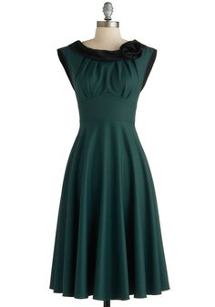 Classical Beauty Dress by Stop Staring! - Woven, Long, Green, Black, Solid, Flower, Party, Cocktail, Vintage Inspired, 40s, 50s, A-line, Cap Sleeves
