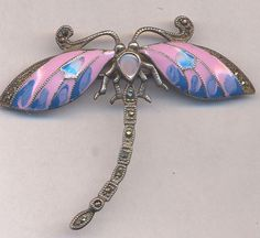 TWO TREASURY LISTS...Vintage DRAGONFLY Brooch...Sterling...Enamel Dragonfly...Marcasite Accents...BEAUTIFUL Sterling Enamel Dragonfly Brooch