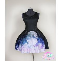 Galaxy Dress Sailor Moon Dress Lolita Gothic Plus Size Dress Ladies... ($60) ❤ liked on Polyvore featuring dresses, black, women's clothing, galaxy print dress, women plus size dresses, gothic dress, plus size mini dresses and black dress